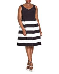 Fair Lady Striped Fit-and-Flare Dress