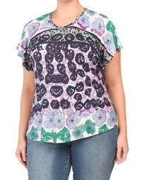 Plus Short Sleeve Printed Stretch Knit Top