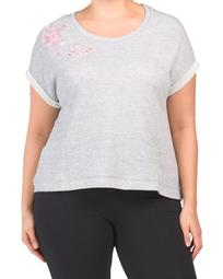 Plus Short Sleeve Athleisure Embroidered Top