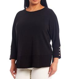 Plus Size 3/4 Sleeve Button Cuff Top