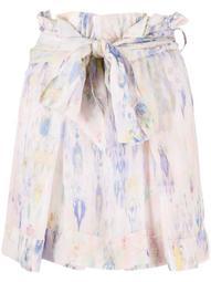 floral-print tied-waist short skirt