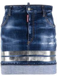 holographic-stripe denim miniskirt
