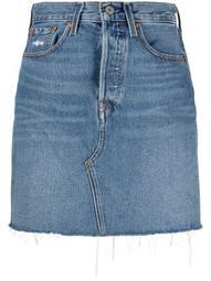 high-rise straight denim skirt