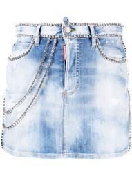 crystal-embellished denim skirt