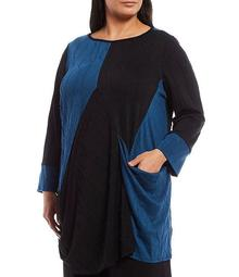 Plus Size Wave Jersey Colorblock Long Sleeve Tunic