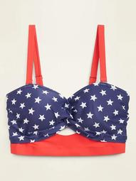Americana Stars Twist-Front Underwire Plus-Size Swim Top