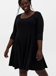Black Ribbed Knit A-Line Dress
