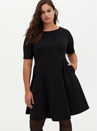 Black Scuba A-Line Midi Dress