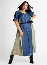 Denim & Camo Button Maxi Dress