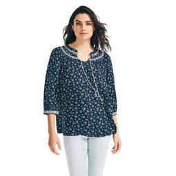 FLORAL EMBROIDERED THREE-QUARTER SLEEVE TOP
