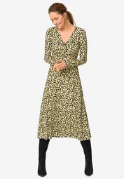 Draped Bodice Knit Midi Dress