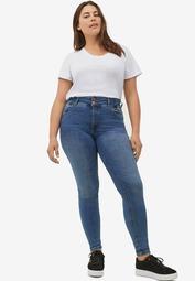 2-Button Stretch Skinny Jeans