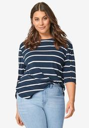 Striped Button Sleeve Tee
