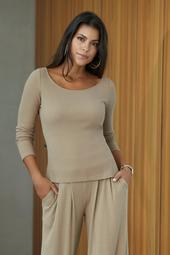 Ribbed Long-Sleeve Lounge Top
