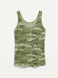 First Layer Slim-Fit Rib-Knit Plus-Size Camo Tank Top