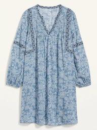 Floral-Print Split-Neck Plus-Size Swing Dress