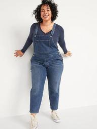 Straight Dark-Wash Plus-Size Jean Overalls
