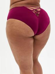 Berry Pink Microfiber Cage Back Hipster Panty