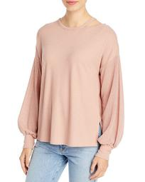 Mixed Texture Long-Sleeve Boxy Top