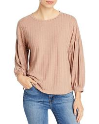 Rib-Knit Puff Sleeve Boxy Top