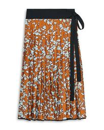 Printed Pleated Silk Skirt
