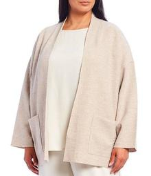 Plus Size Light Boiled Wool Open Front Jacket