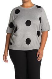 Elbow Length Sleeve Polka Dot Print Pullover Sweater