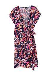 Leaf Print Cap Sleeve Wrap Dress