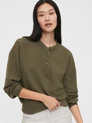 Vintage Soft Fleece Henley Sweatshirt