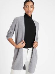 Washable Merino-Blend Long Cardigan Sweater
