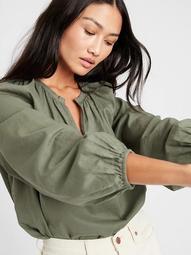 Cotton-Linen Balloon-Sleeve Top