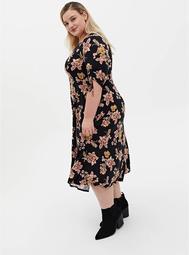 Black Floral Studio Knit Skater Midi Dress