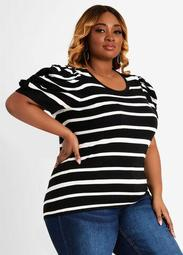 Stripe Ruched Puff Sleeve Sweater