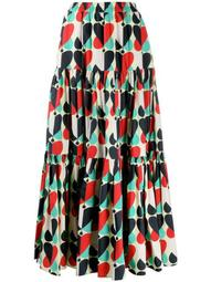 Big geometric-print tiered skirt