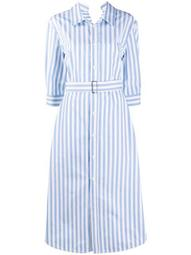 stripe belted cotton shirt dress