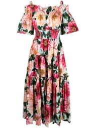floral-print tiered-design dress