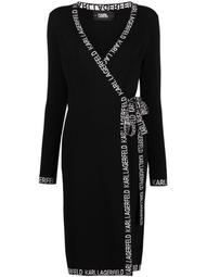 logo-embroidered wrap dress