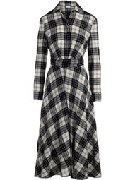check-pattern flared shirt dress