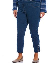 Plus Size Button Detail Pull-On Stretch Denim Ankle Pants