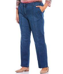 Plus Size Soft Stretch Denim Straight Leg Pants