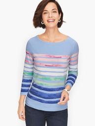 Cotton Bateau Neck Tee - Painterly Stripe