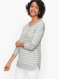 Curved Hem Stripe Pullover