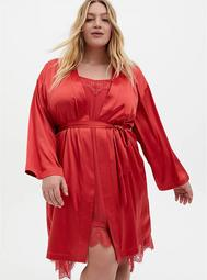 Cranberry Red Stretch Satin Sleep Robe