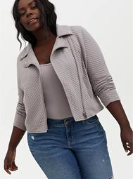 Pebble Grey Quilted Knit Moto Jacket
