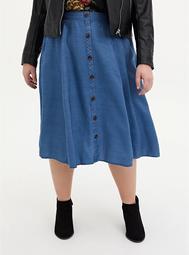 Dark Wash Button Front Midi Skirt