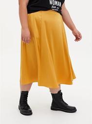 Golden Yellow Satin Tea Length Skirt