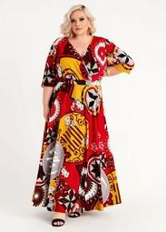 Geo Floral Wrap Maxi Dress