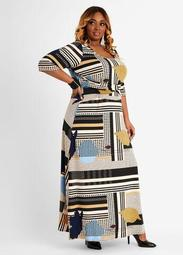 Mixed Print Knot Waist Maxi Dress