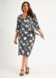 Geo Colorblock Ruched Wrap Dress
