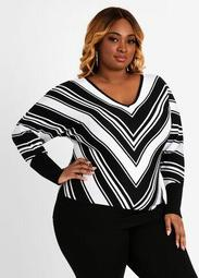 Stripe Deep V Neck Sweater